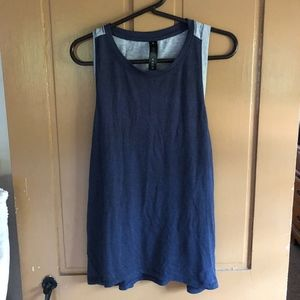 Women's blue and grey yoga tank top.